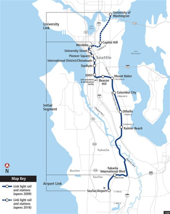 Link light rail map. My home is between Beacon Hill and Mt Baker stations. Seattle just opened two new stations on Capitol Hill and the University District! Use the King County Metro Trip Planner to plan your trips from the Mt Baker or Beacon Hill stations near my home.