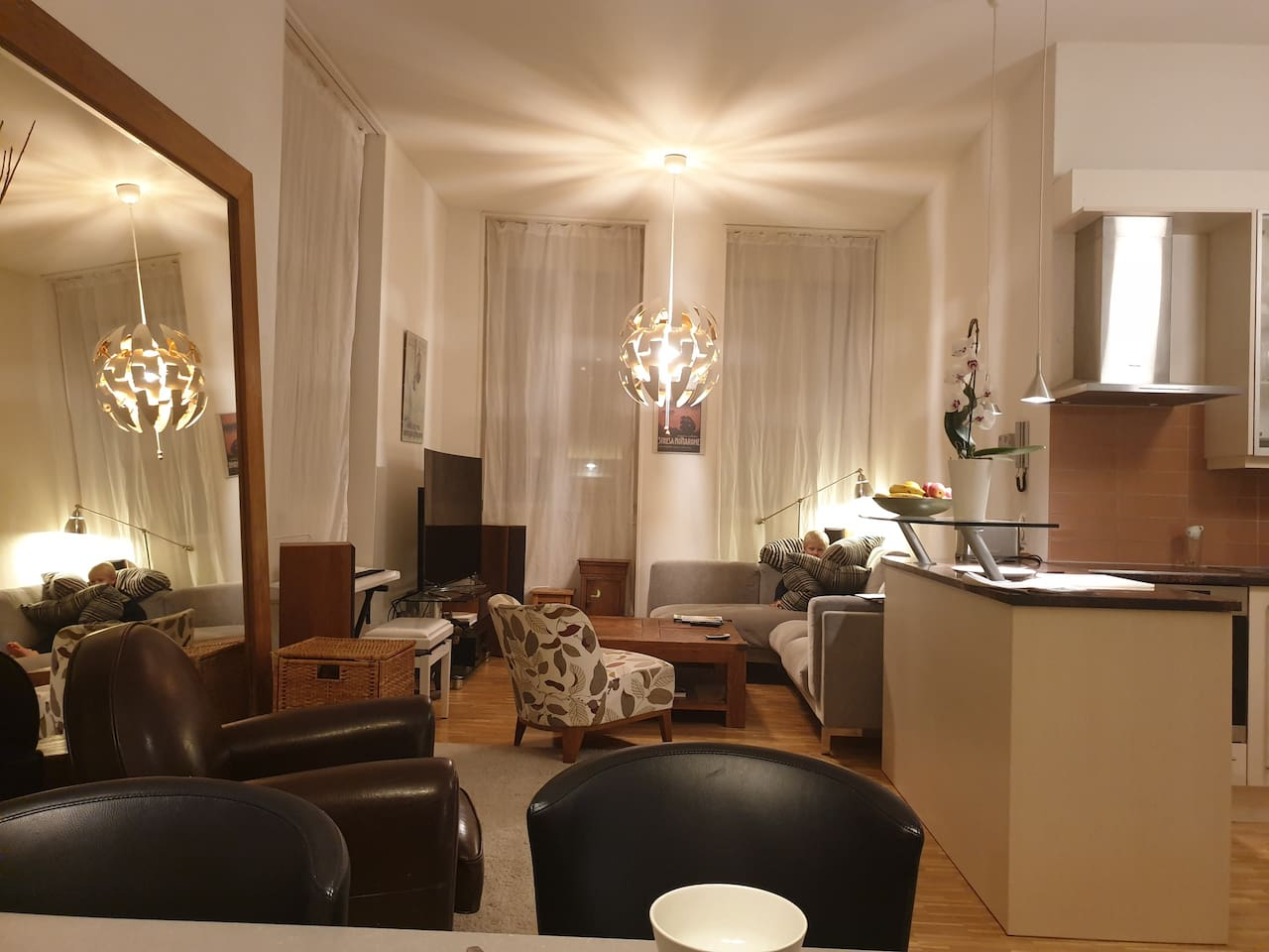 Open Living Room with high ceilings and open kitchen