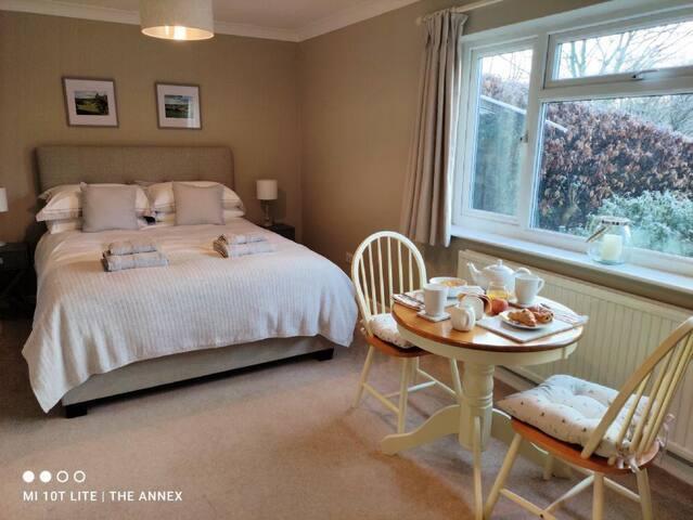 Bright, south-facing bedroom.