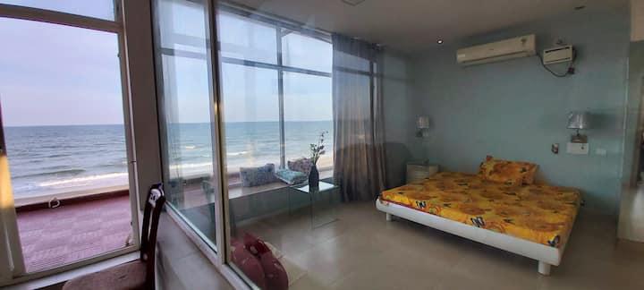 Peace beach:  Beachfront 1bhk fully AC villa