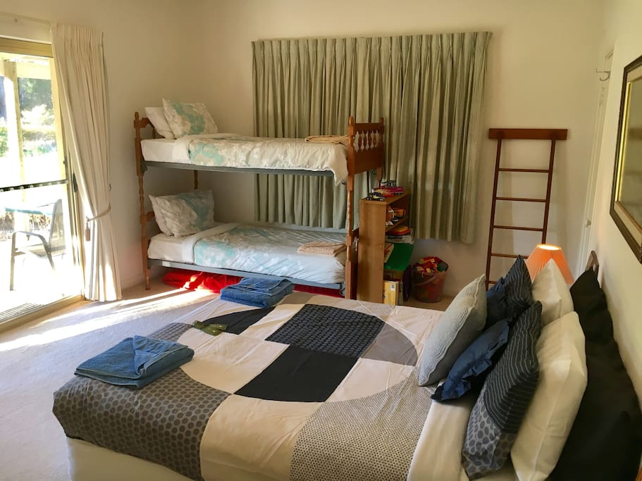 Your room sleeps 4 though we can accommodate an extra person on a mattress on the floor if needed.