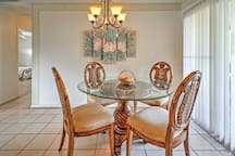 Enjoy home-cooked meals at the beautiful dining table.