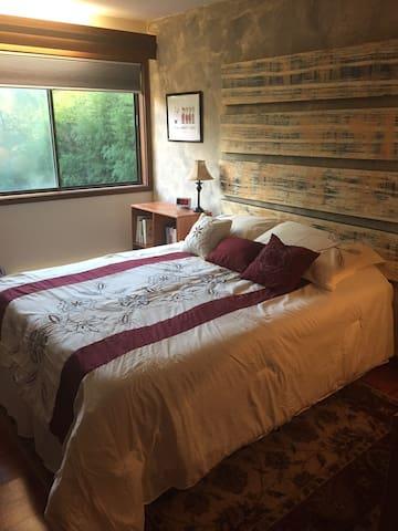 Peaceful bedroom with queen bed