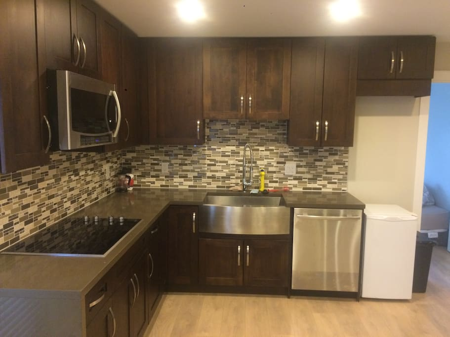 Mitch has dishwasher large sink, glass top stove and fridge. Microwave pots pans dishes.