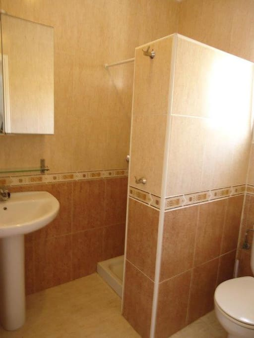 Badkamer met douche beneden