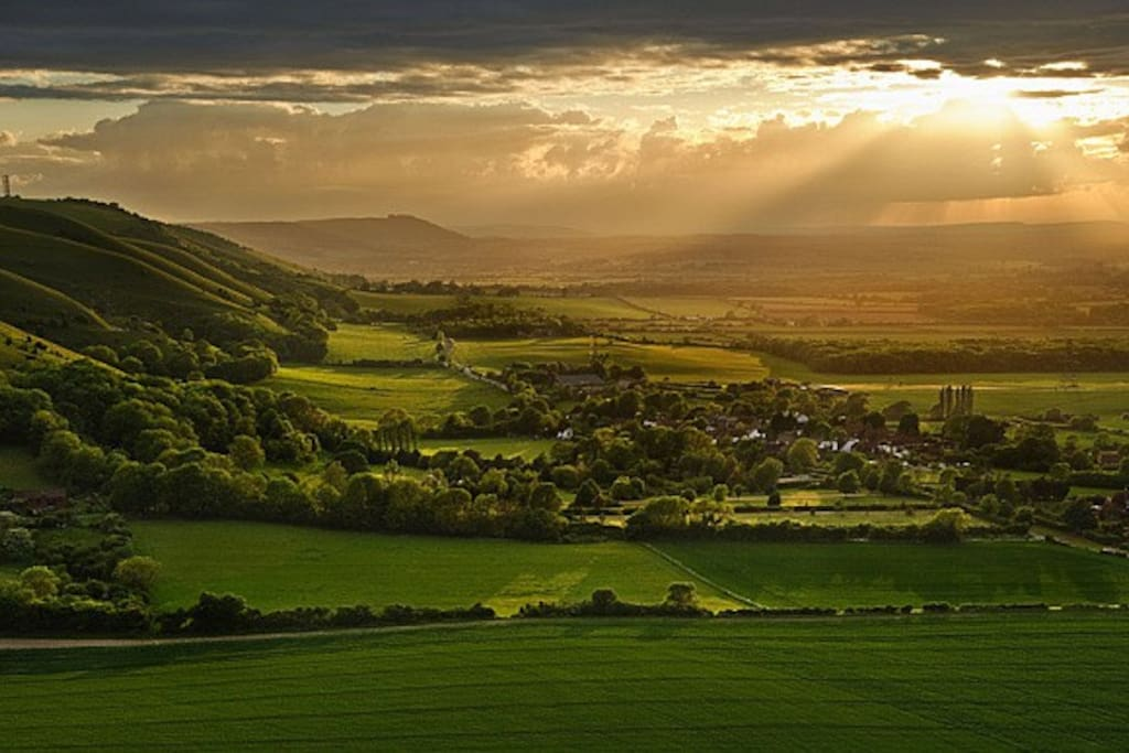 Sunset over the South Downs