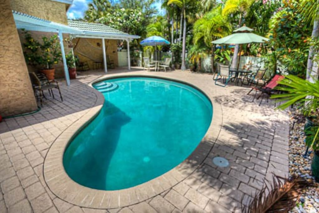 Resort-like pool courtyard with excellent privacy