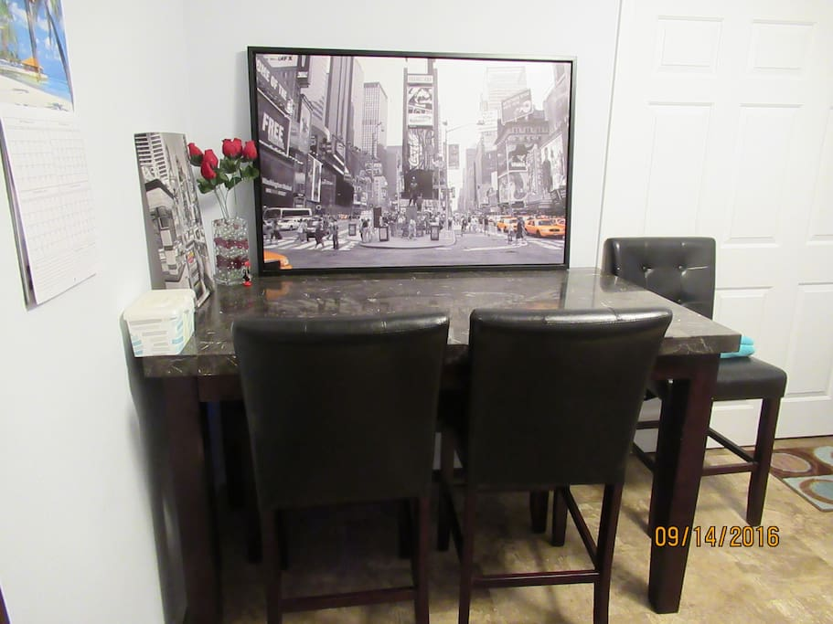 Large table for computer use.