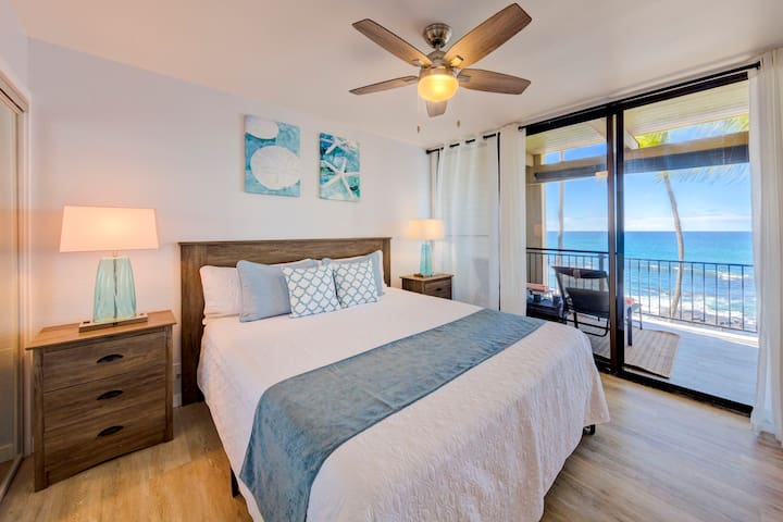 Spacious master bedroom with oceanfront lanai
