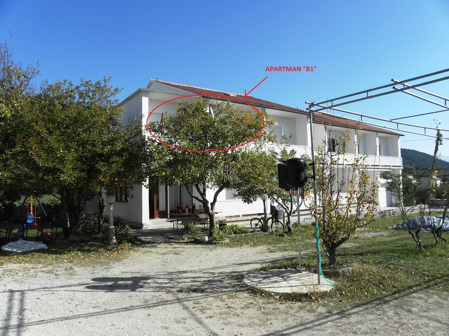 Here is located your appartment with two terrace and outdoor shower which you can use after beach!