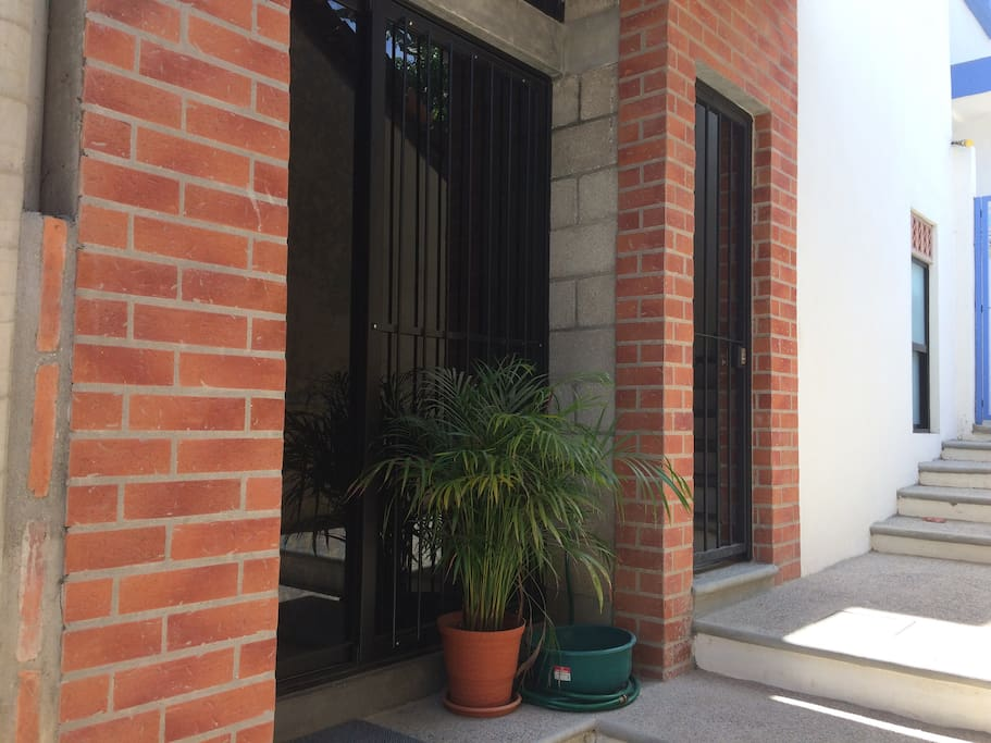Dark glass doors in apartment