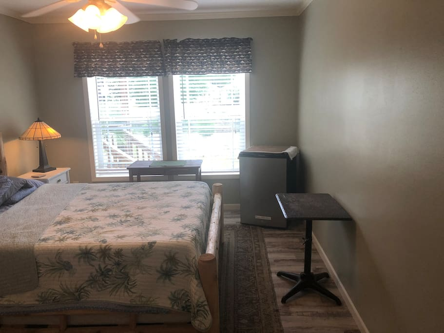 Guest bedroom and mini refrigerator