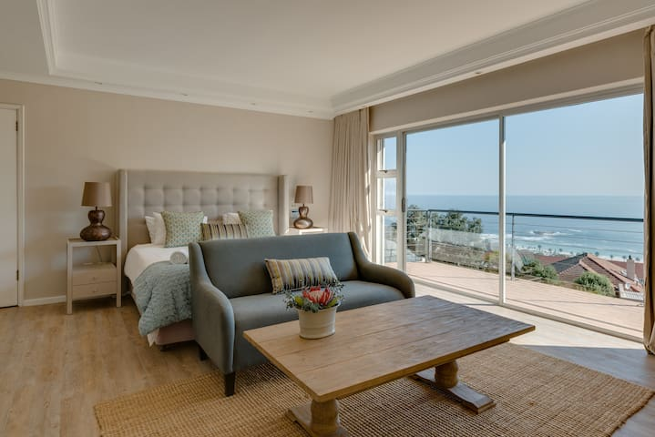 Bedroom 1 with stunning sea views. King size bed can be made up as twins on request. 2 Full bathrooms en-suite to this bedroom.