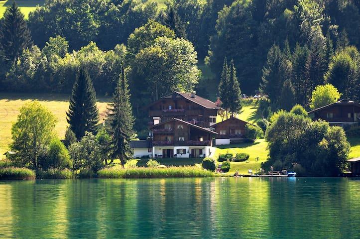 Wunderschöne Anlage direkt am See  Chalets Zöhrer - Wohnen am Wasser, Ferienwohnungen direkt am See (Weissensee, Kärnten,  Österreich), apartments, directly at the lake