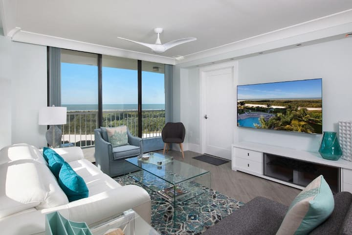 Savor the Sunset views from this lovely beachfront condo in beautiful gated Resort