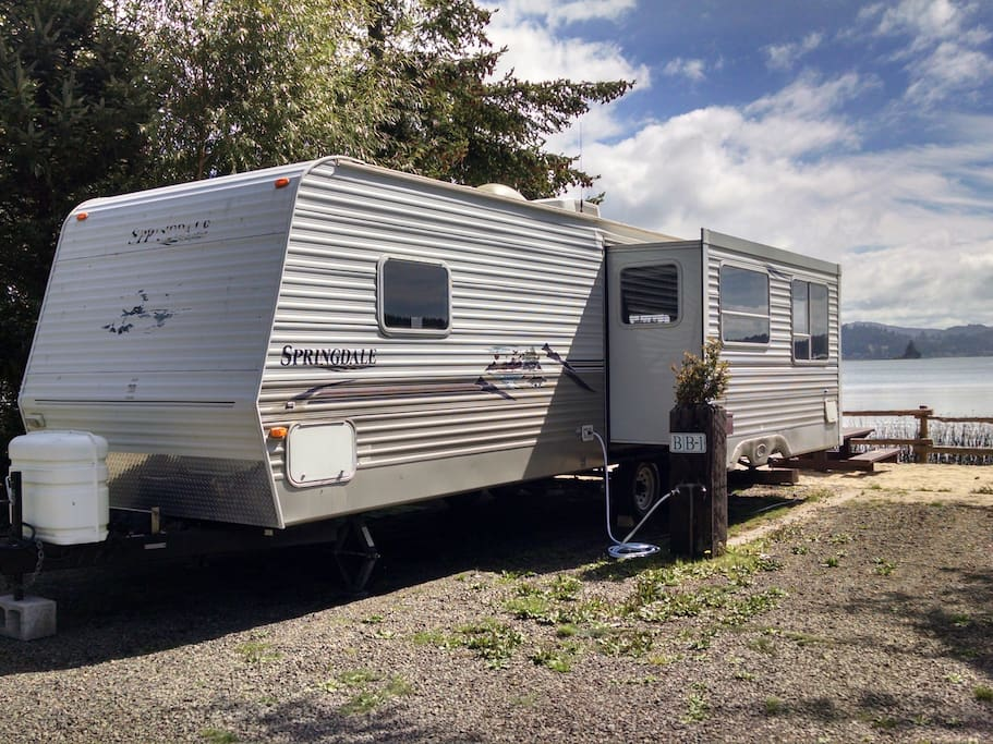 29' Travel Trailer with slideout. Placement depends on conditions, availability and length of stay.  Trailer may be placed in the upper campground.  Please ask.