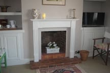 Feature fire place (decorative only) in bedroom
