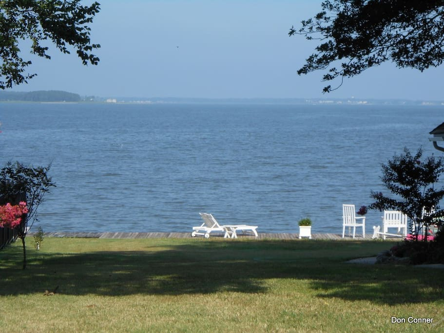 The view of the Bay From the front yard. The chairs are not ours.