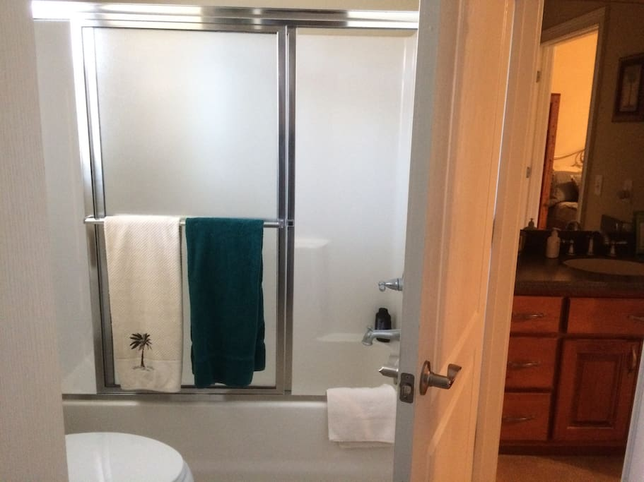 Shared shower, toilet Jack& Jill.  Half-bath available also