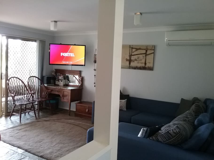 air conditioned lounge, dining and kitchen area. open plan