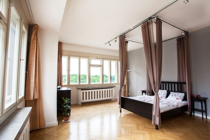 Canopy bed and a view of Prague - Prag - Lägenhet