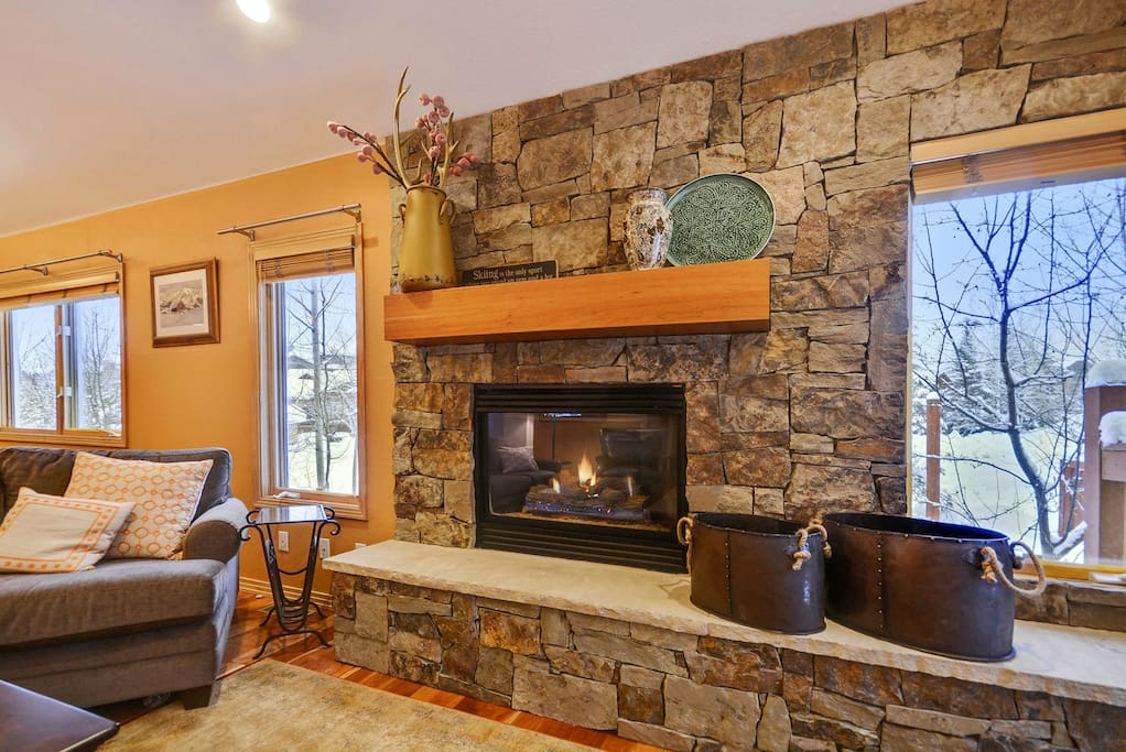 Gather around the gas fireplace and enjoy a glass of wine