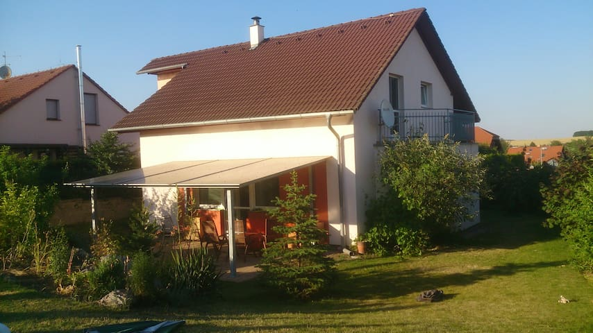 House with a garden pool near Prague airport for 8 - Velké Přílepy - Hus