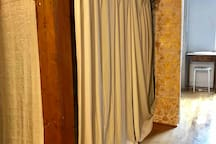 You can close the curtains to secure for privacy!