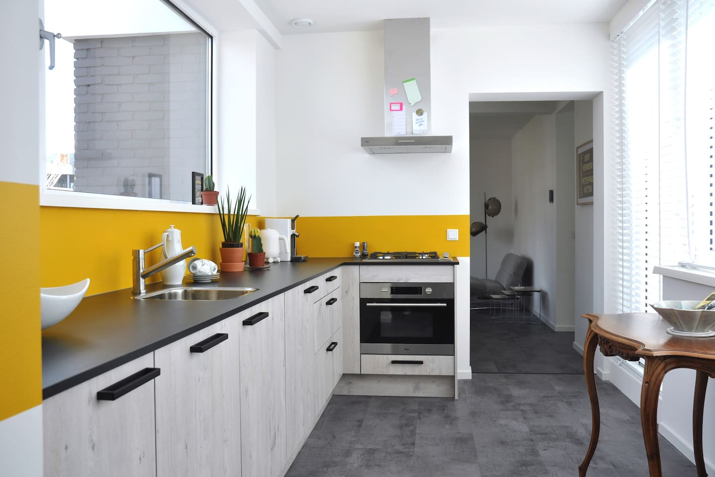 fully equipped kitchen with oven/microwave, senseo coffee machine, dishwasher and fridge