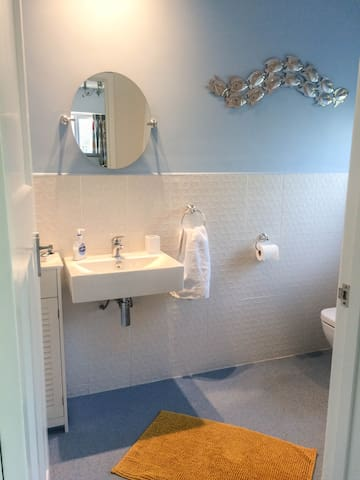 En suite wet-room with shower, basin and WC.