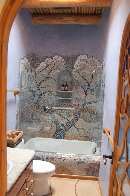 Guest bathroom with mosaic shower
