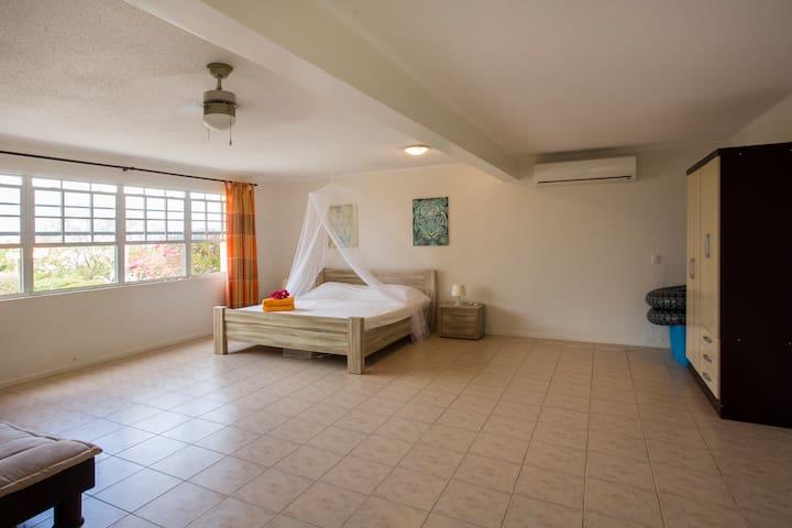 Double bedroom 1 with a/c, ceiling and standing fan.