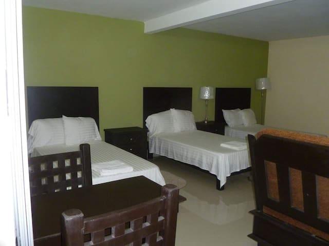 También contamos con habitaciones tipo suite, para tres o cuatro personas (pregunta por disponibilidad), incluyen horno de microondas y frigobar.