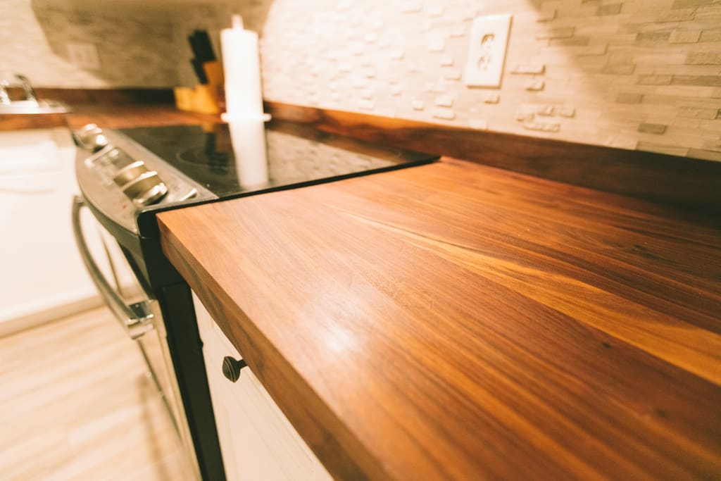 Ooooh! Handmade black walnut countertops!
