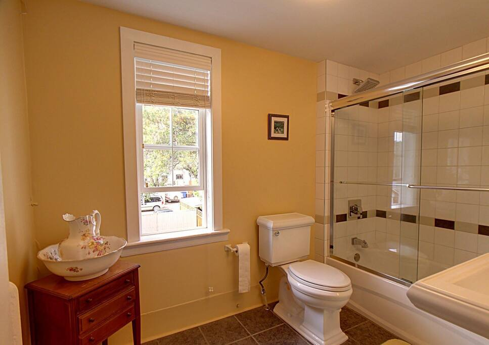 shared bathroom with one other guest room.