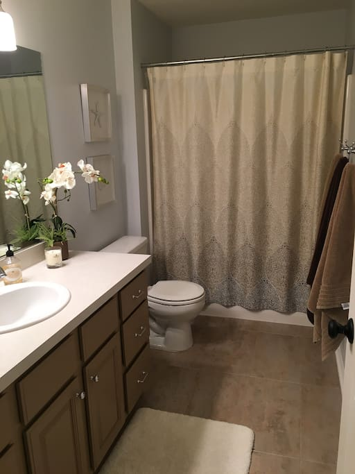 Private bath stocked with towels & amenities