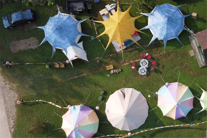 Group Yurt & Tipi Camp, 24 folks, 6 tents