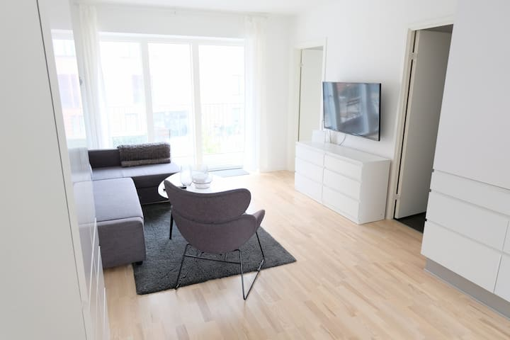 2 bedroom light, modern apartment with balcony