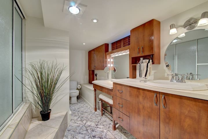 Private restroom w shower and bath including W/D
