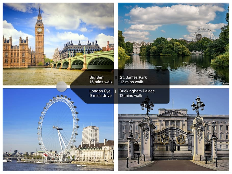 Great prime central London location - walking distance to Big Ben (House of Paliarment, St James Park, London Eye, Buckingham Palace