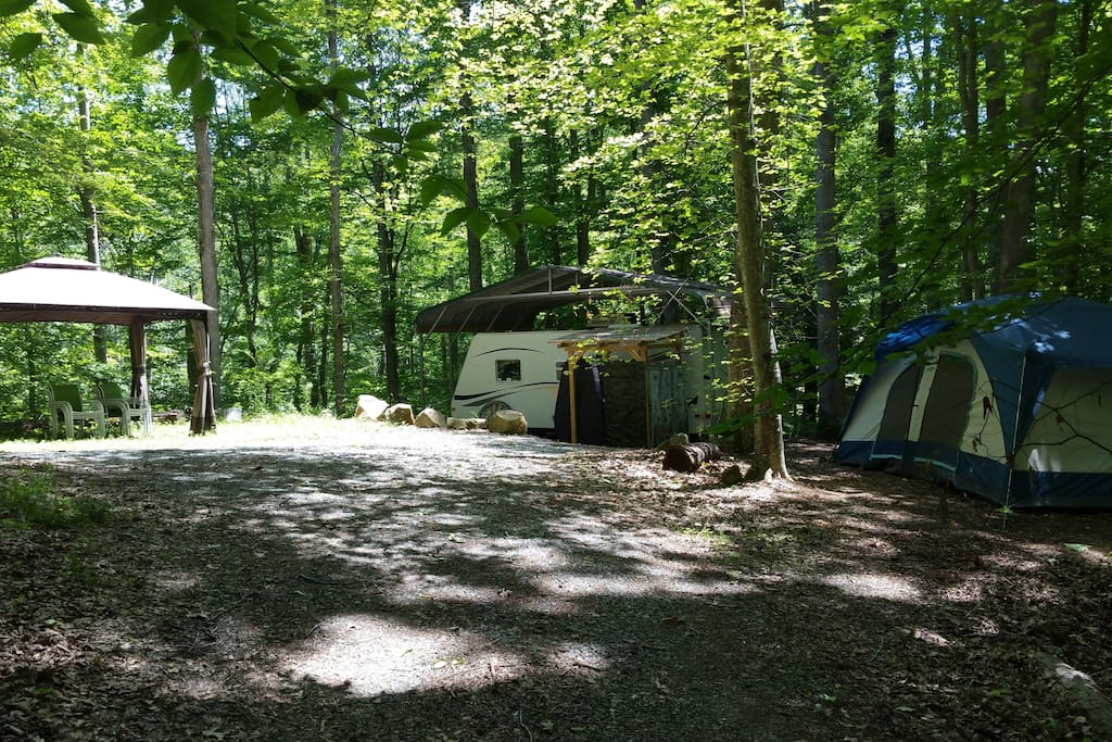 Base camp with Gazebo and Trailer.  Rent the whole thing for your group to camp and cook