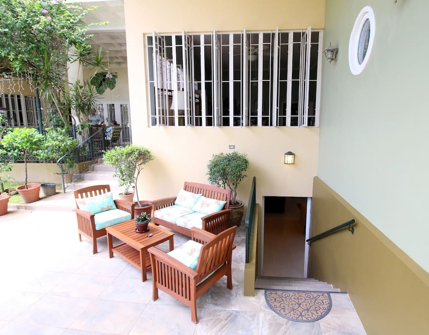 Private seating area and entrance to apartment.