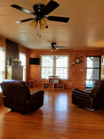Living area: TV for DVD's, games, leather seating and a gas fireplace.