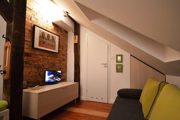 Mini studio  z łazienką na poddaszu