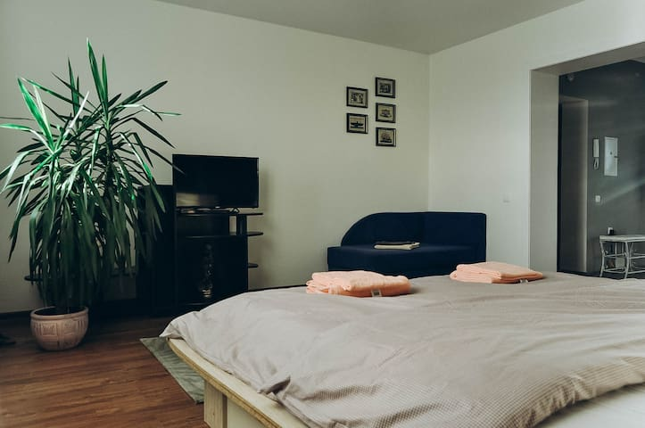 Спальня: тумба, телевизор, односпальная тахта-кровать