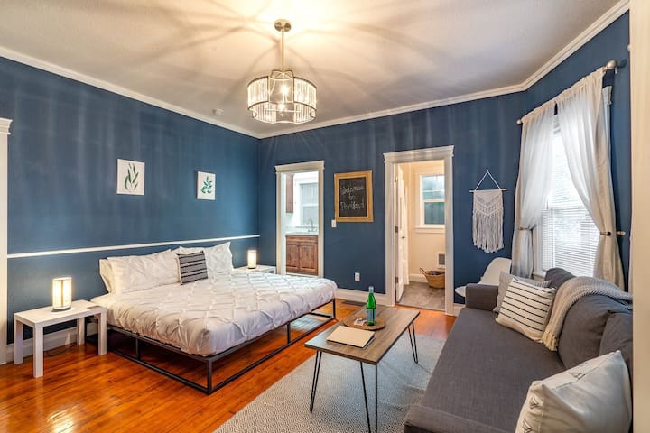 Private 1 Bedroom, 1 Bathroom Suite complete with a Living Area with a sleeper sofa, convenient kitchenette (includes a mini-fridge, microwave, electric kettle, coffee maker & dishes/silverware!), desk, TV, & much more!
