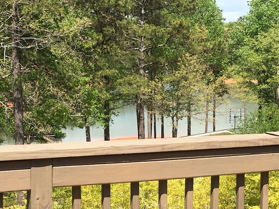 View of lake from cabin and deck
