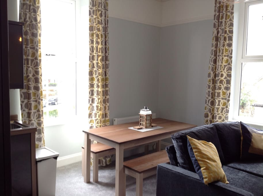 Lounge, diner & Kitchen with superb views over to Grizedale out of the main window. The room contains a sofa and sofa-bed, dining table, full kitchen, radiators, TV and DVD player.......
