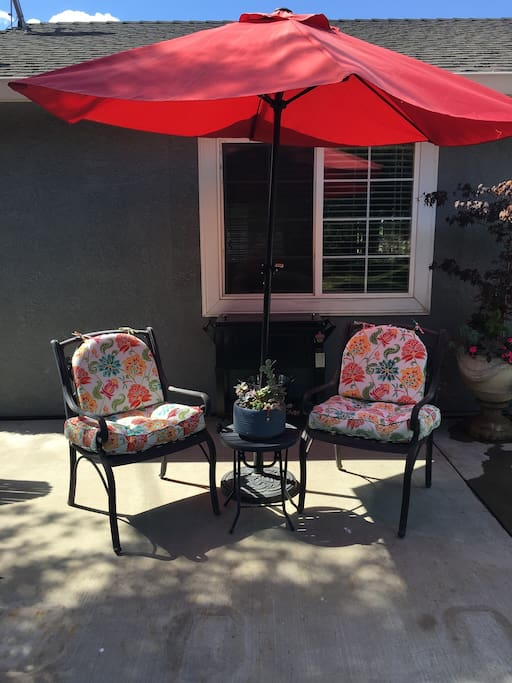 Enjoy a beverage in our spacious backyard!