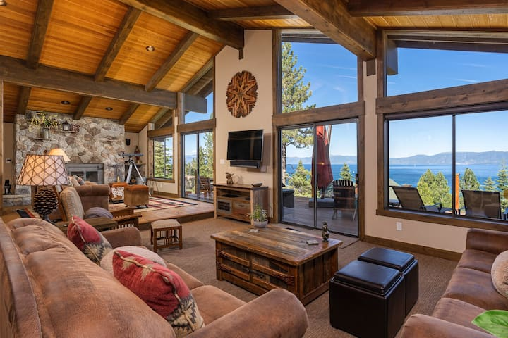 This newly remodeled retreat boasts stunning lake views throughout the home.